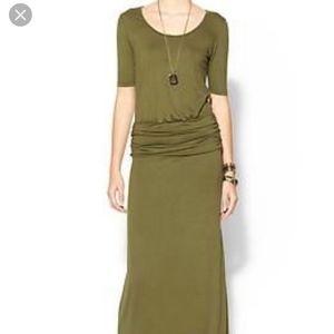 Hive & Honey Maxi Drop Waist Olive Knit Dress